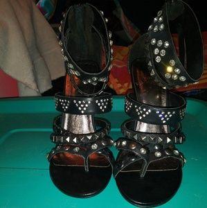 Bakers black studded/crystal high heels size 9